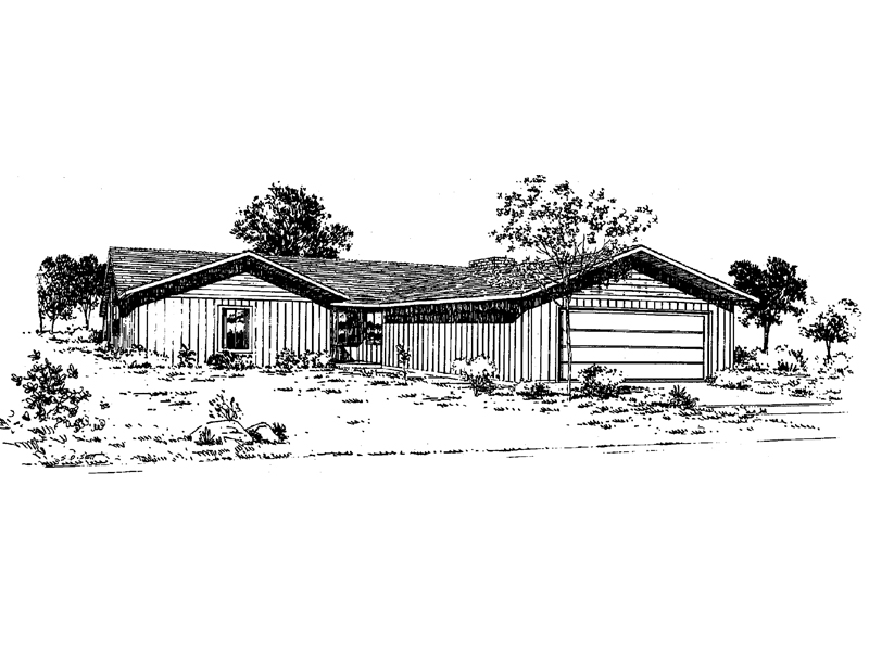 Ranch House Plan Front of Home 085D-0046