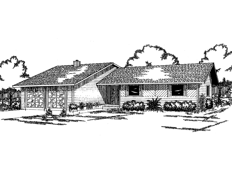 Ranch House Plan Front of Home - 085D-0066 | House Plans and More