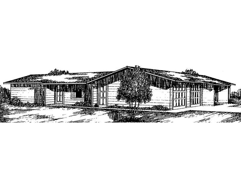 Multi-Family Ranch Design Includes Two Units