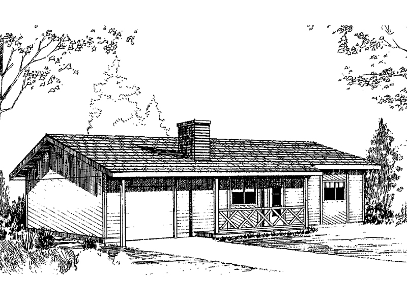 Ranch House Plan Front of Home - 085D-0150 | House Plans and More