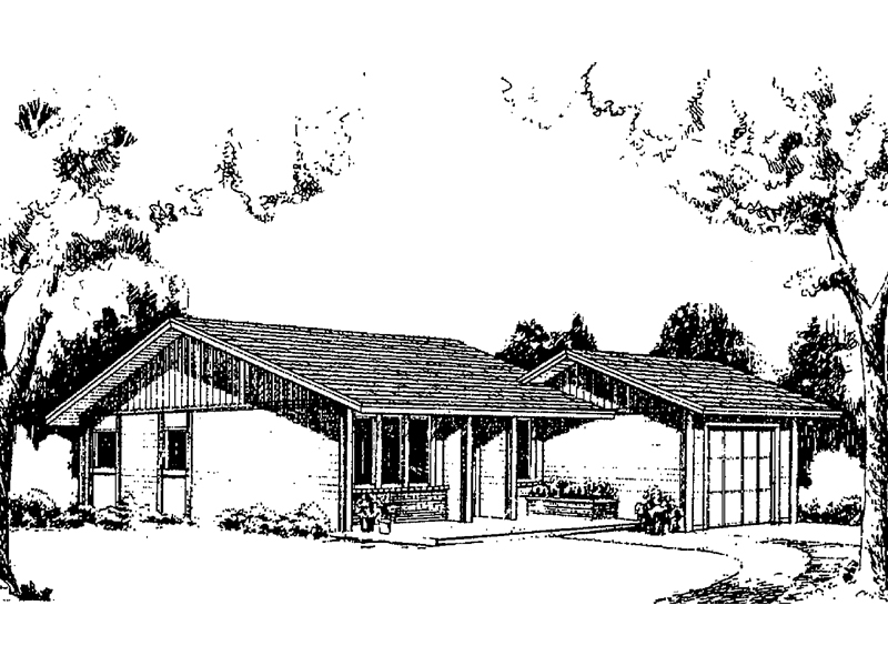 Ranch House Plan Front of Home - 085D-0158 | House Plans and More