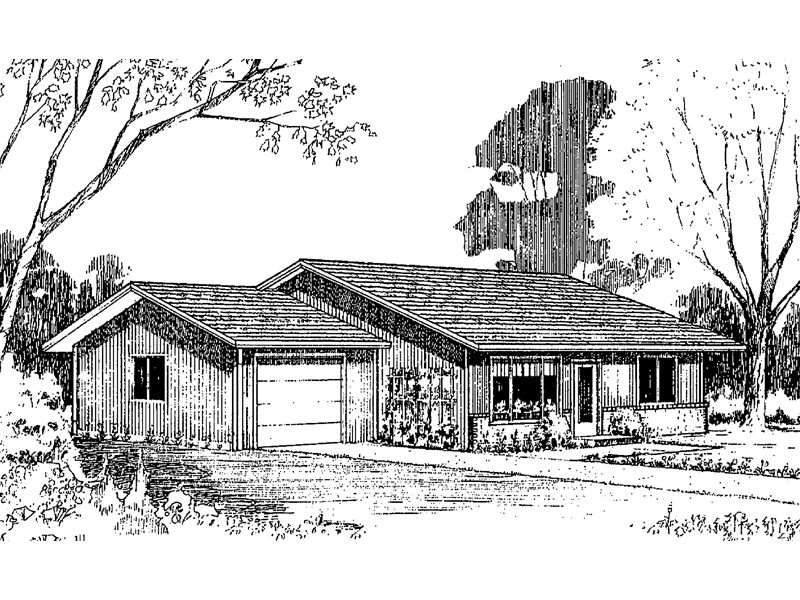Ranch House Plan Front of Home - 085D-0161 | House Plans and More