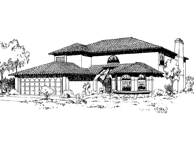 Spanish House Plan Front of Home - 085D-0168 | House Plans and More