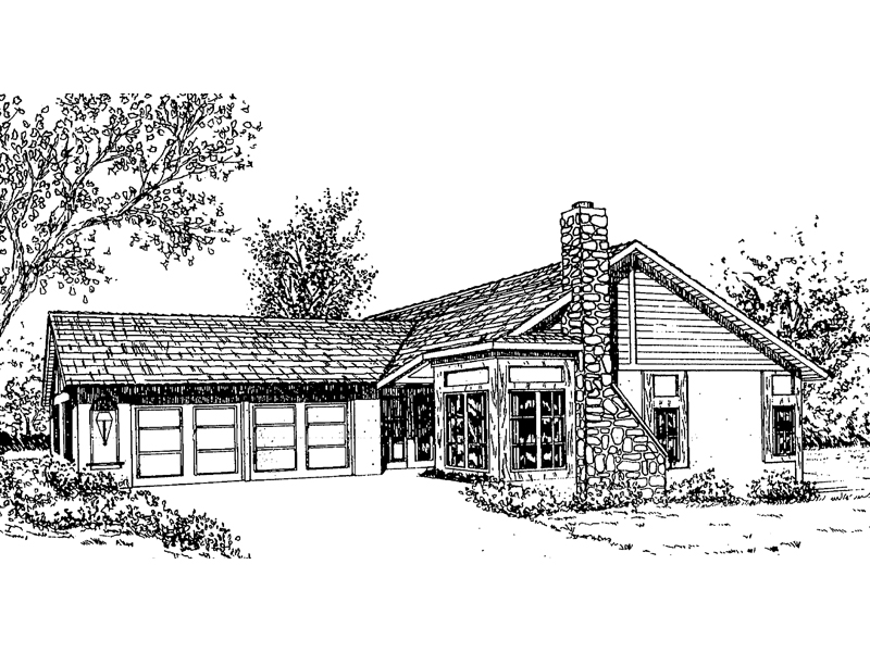 Ranch House Plan Front of Home - 085D-0170 | House Plans and More