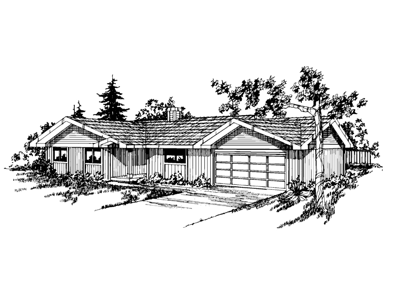 Ranch House Plan Front of Home - 085D-0225 | House Plans and More
