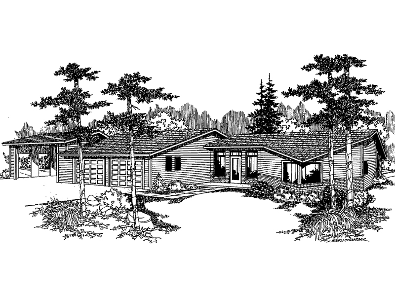 Ranch House Plan Front of Home - 085D-0227 | House Plans and More