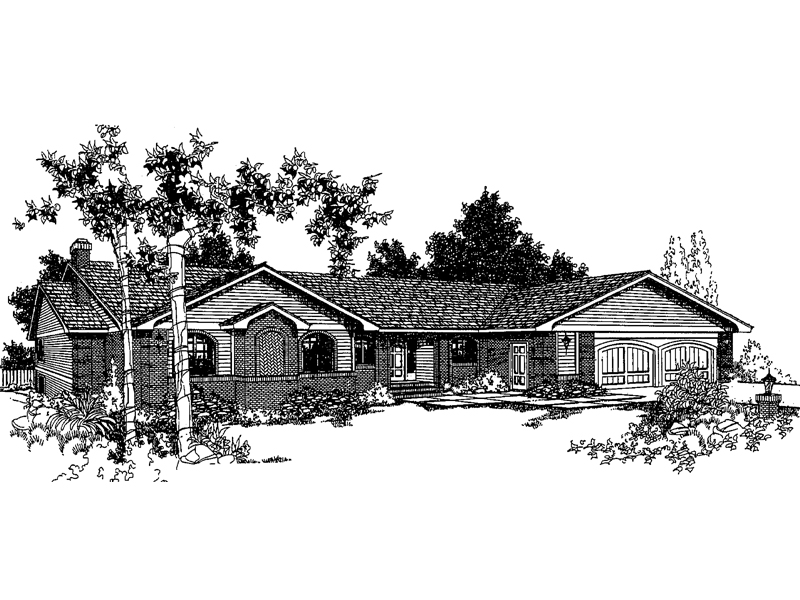 Ranch House Plan Front of Home - 085D-0235 | House Plans and More