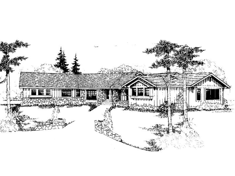 Ranch House Plan Front of Home - 085D-0237 | House Plans and More