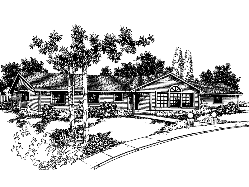 Ranch House Plan Front of Home - 085D-0252 | House Plans and More