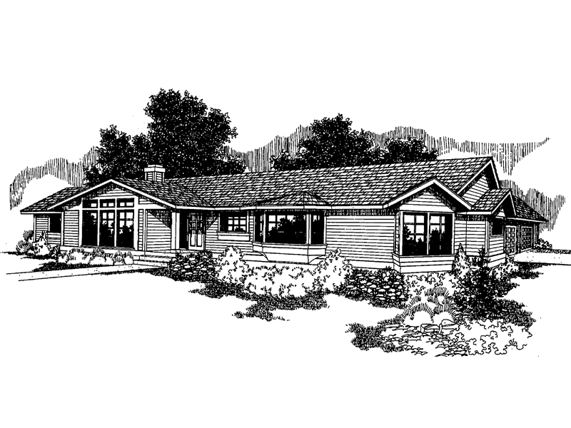 Ranch House Plan Front of Home - 085D-0255 | House Plans and More
