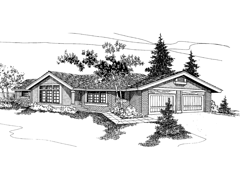 Ranch House Plan Front of Home - 085D-0256 | House Plans and More