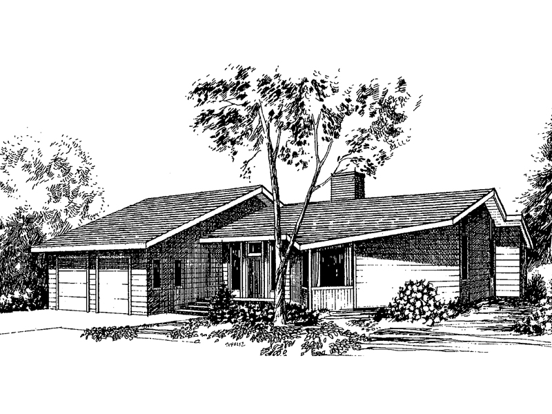 Ranch House Plan Front of Home - 085D-0270 | House Plans and More
