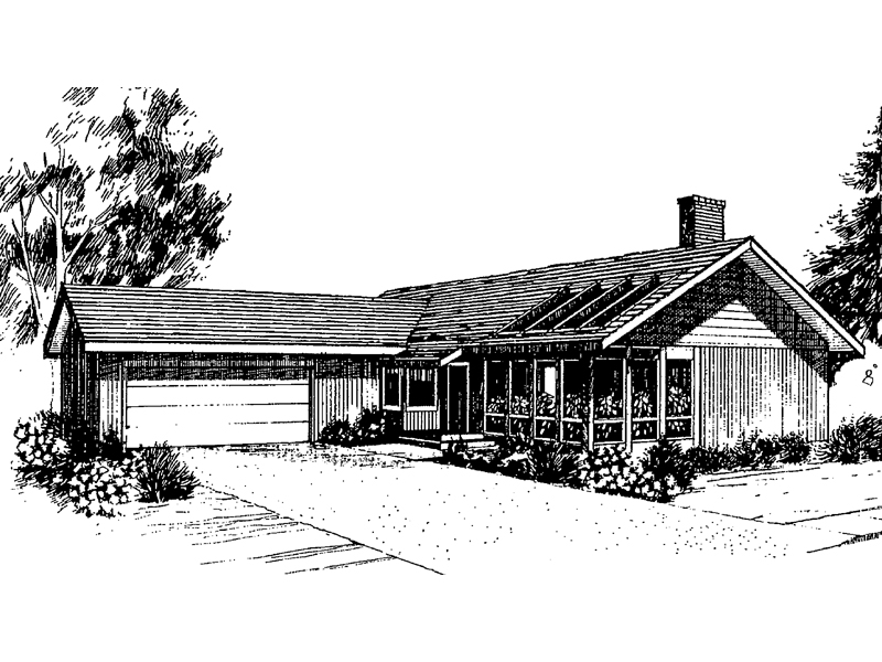 Ranch House Plan Front of Home - 085D-0274 | House Plans and More