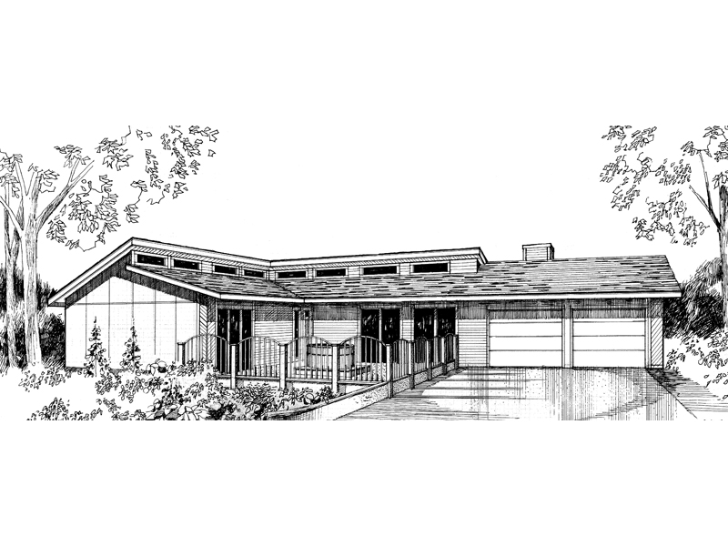Ranch House Plan Front of Home - 085D-0283 | House Plans and More