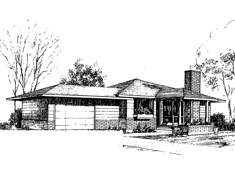 Ranch House Plan Front of Home - 085D-0285 | House Plans and More