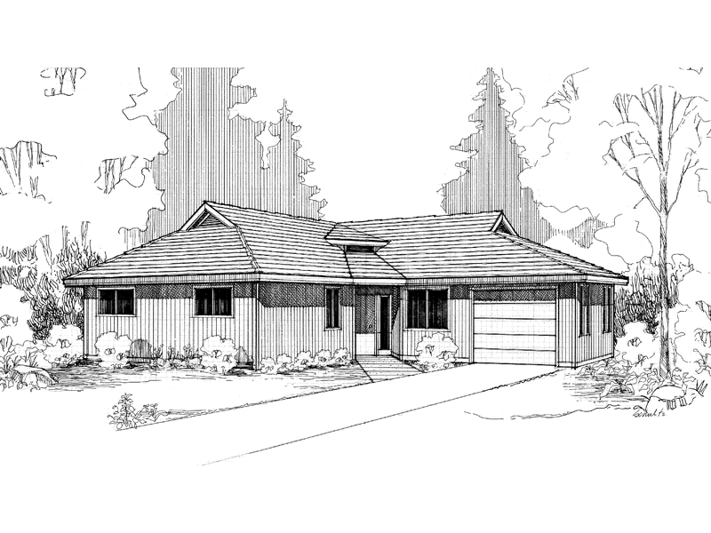 Ranch House Plan Front of Home - 085D-0293 | House Plans and More