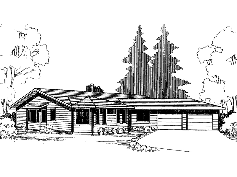Ranch House Plan Front of Home - 085D-0306 | House Plans and More