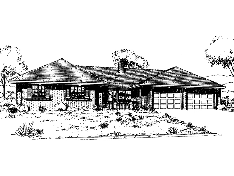 Ranch House Plan Front of Home - 085D-0308 | House Plans and More