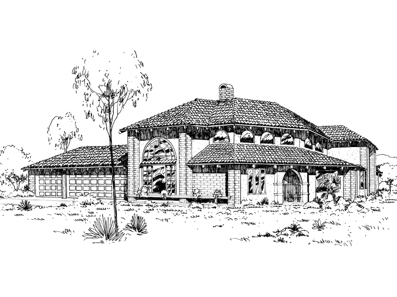 Mediterranean House Plan Front of Home - 085D-0309 | House Plans and More