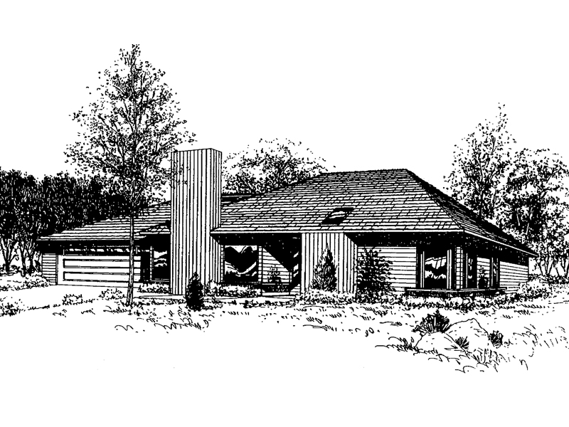 Ranch House Plan Front of Home - 085D-0316 | House Plans and More