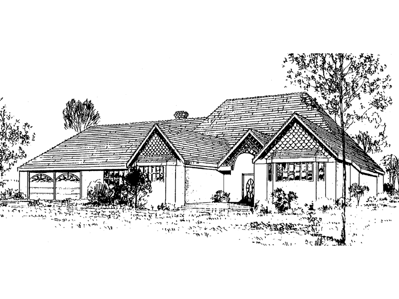 Ranch House Plan Front of Home - 085D-0324 | House Plans and More