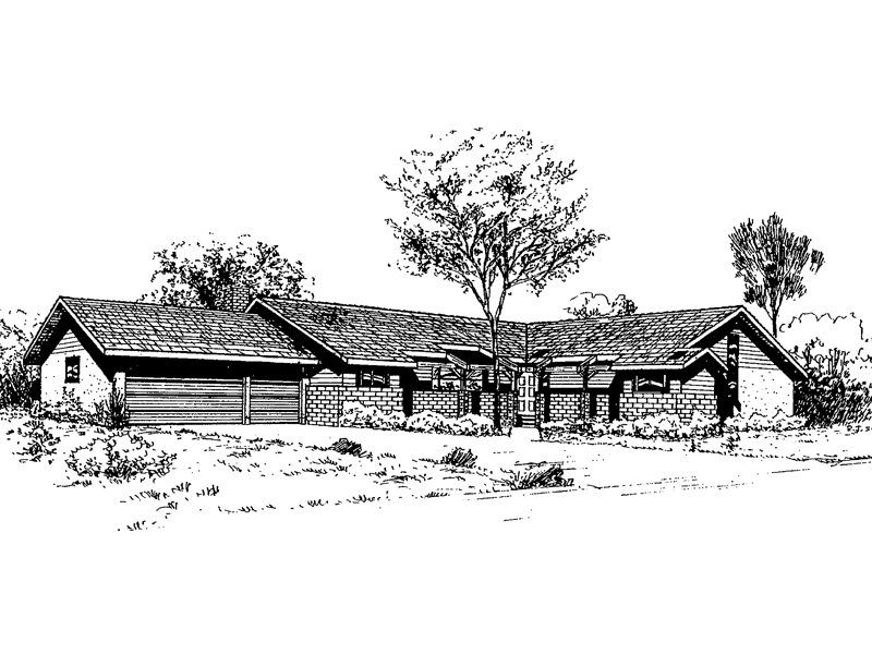 Ranch House Plan Front of Home - 085D-0325 | House Plans and More