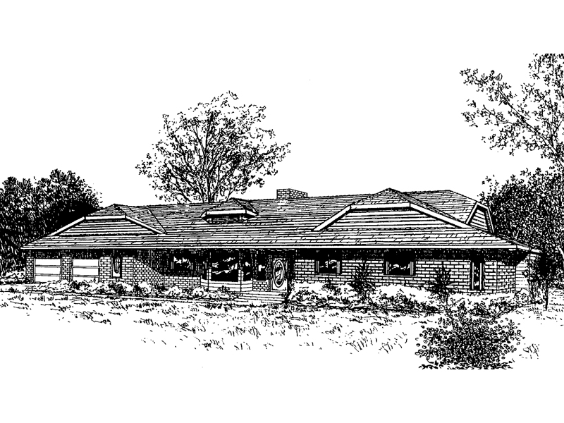 Ranch House Plan Front of Home - 085D-0327 | House Plans and More