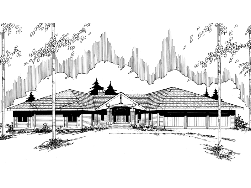 Ranch House Plan Front of Home - 085D-0350 | House Plans and More