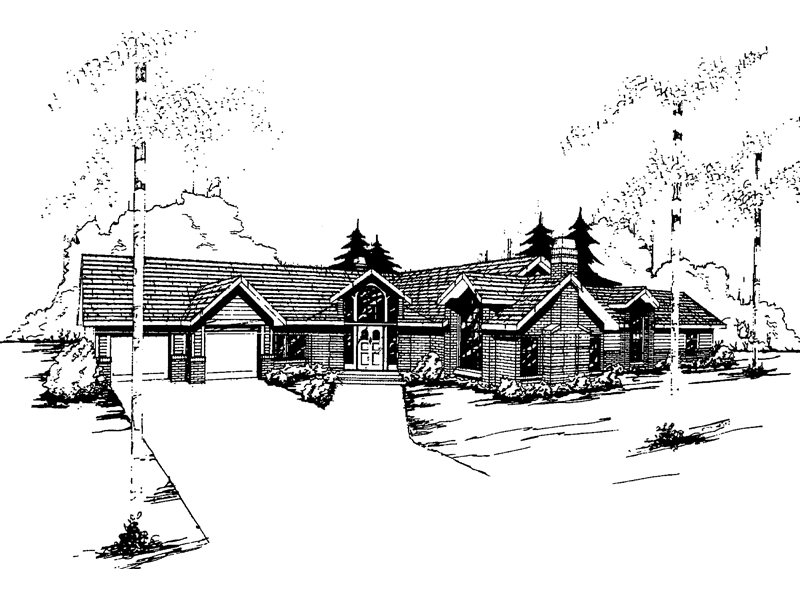 Ranch House Plan Front of Home - 085D-0351 | House Plans and More