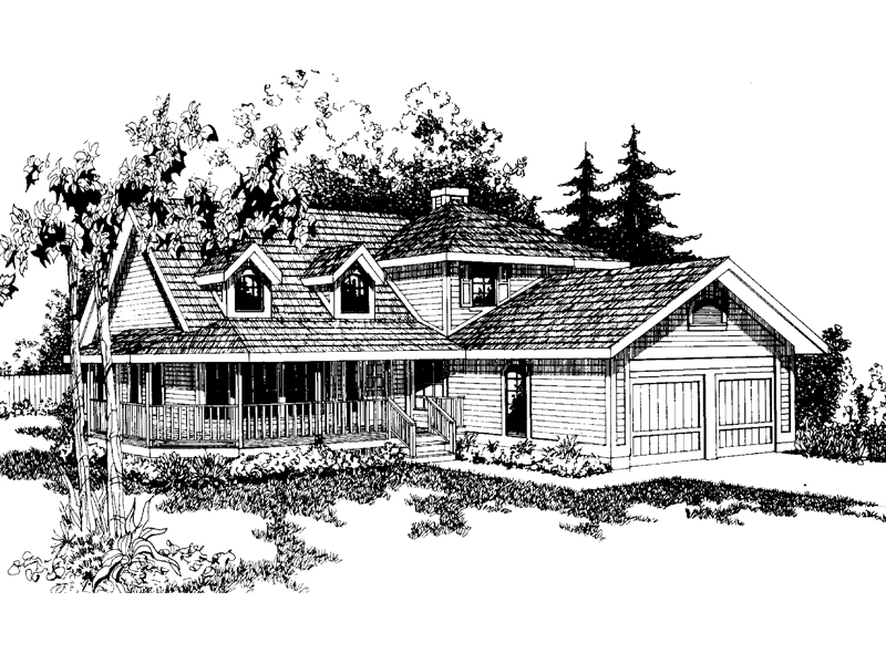 Farmhouse Home Plan Front of Home - 085D-0366 | House Plans and More