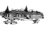 Ranch House Plan Front of Home - 085D-0371 | House Plans and More