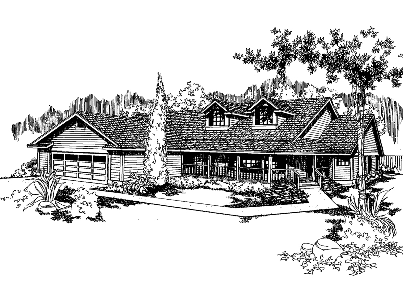 Ranch House Plan Front of Home - 085D-0373 | House Plans and More