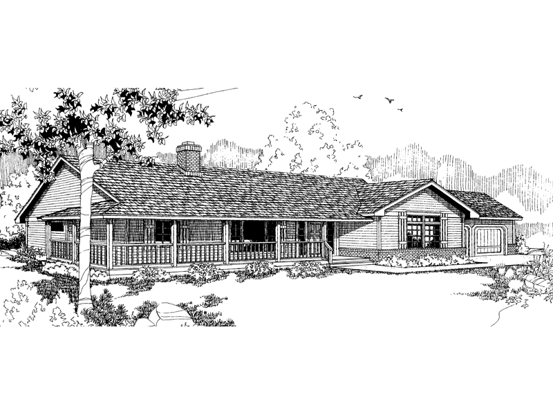 Ranch House Plan Front of Home - 085D-0376 | House Plans and More