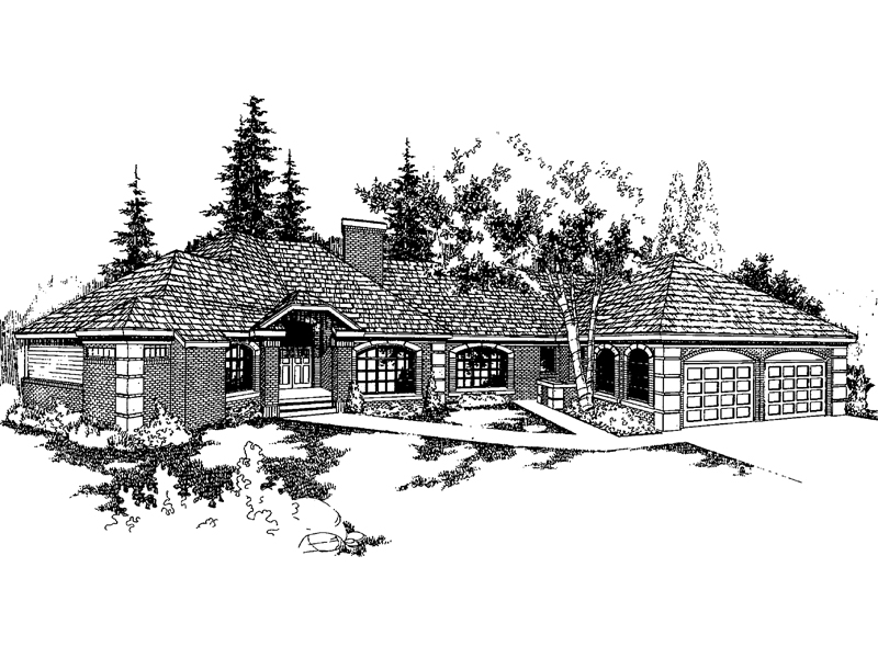 Ranch House Plan Front of Home - 085D-0380 | House Plans and More