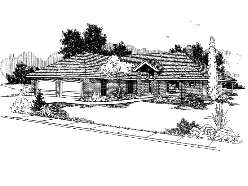 Ranch House Plan Front of Home - 085D-0381 | House Plans and More