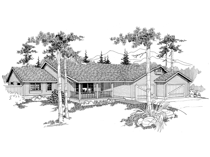 Ranch House Plan Front of Home - 085D-0384 | House Plans and More