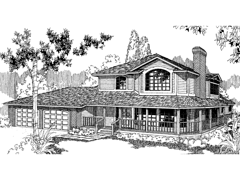 Farmhouse Plan Front of Home - 085D-0385 | House Plans and More
