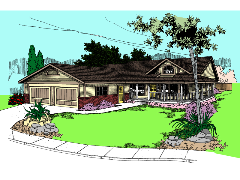 Ranch House Plan Front of Home - 085D-0387 | House Plans and More