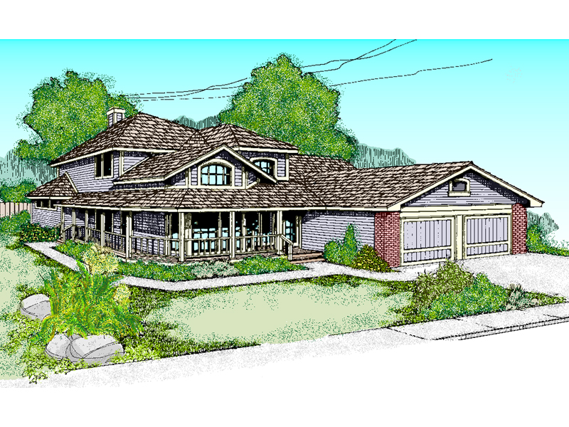 Farmhouse Plan Front of Home - 085D-0390 | House Plans and More