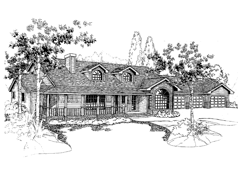 Country House Plan Front of Home - 085D-0391 | House Plans and More