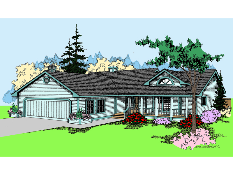 Ranch House Plan Front of Home - 085D-0392 | House Plans and More