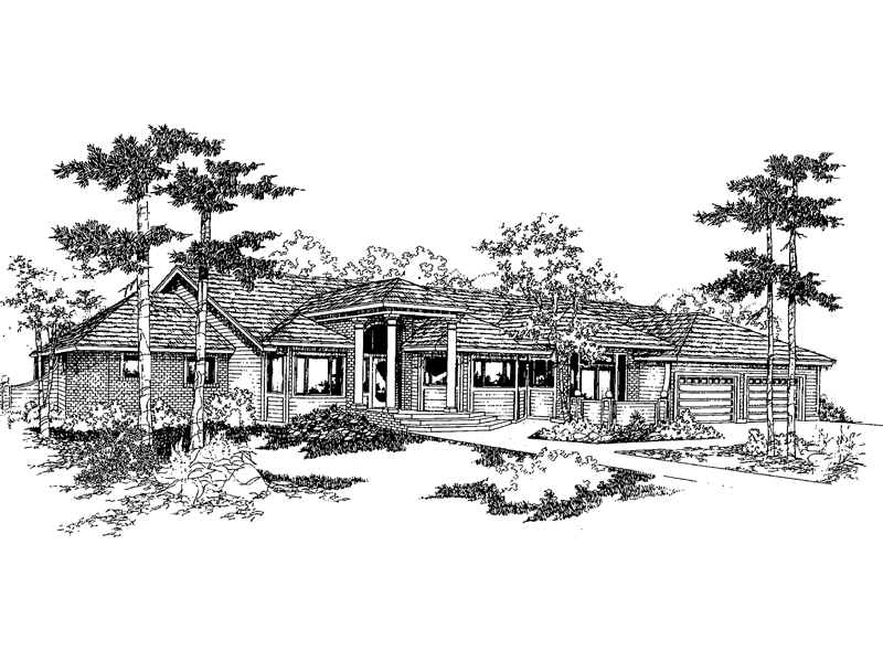 Ranch House Plan Front of Home - 085D-0395 | House Plans and More