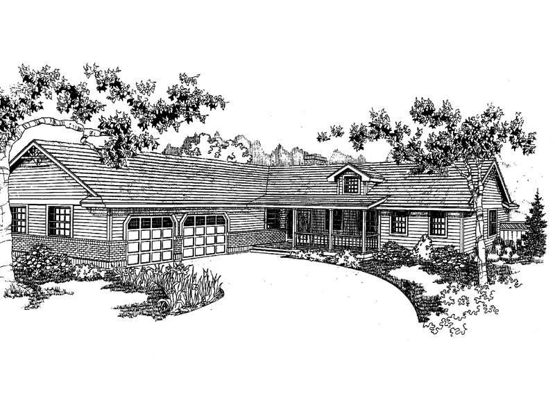 Ranch House Plan Front of Home - 085D-0396 | House Plans and More