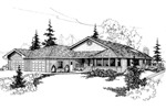 Ranch House Plan Front of Home - 085D-0399 | House Plans and More