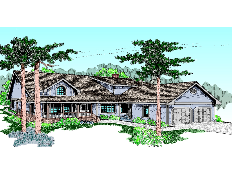 Country Home Has Casual Feel With Front Loading Garage