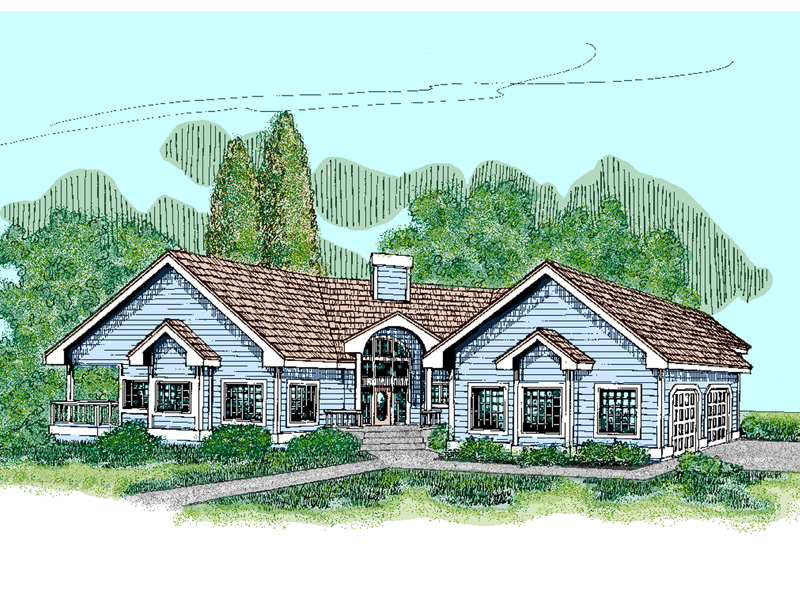 Ranch House Plan Front of Home - 085D-0480 | House Plans and More