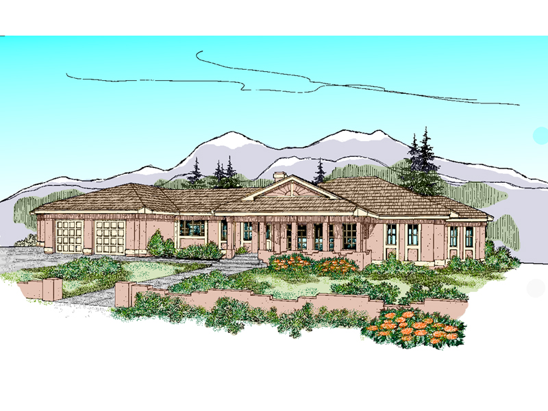 Ranch House Plan Front of Home - 085D-0481 | House Plans and More