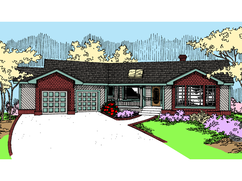 Ranch House Plan Front of Home - 085D-0483 | House Plans and More
