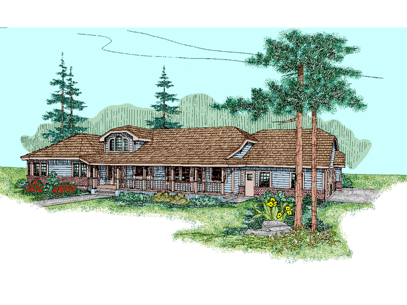 Ranch House Plan Front of Home - 085D-0484 | House Plans and More