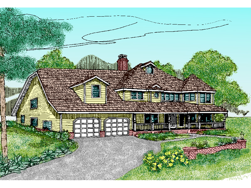 Farmhouse Plan Front of Home - 085D-0486 | House Plans and More